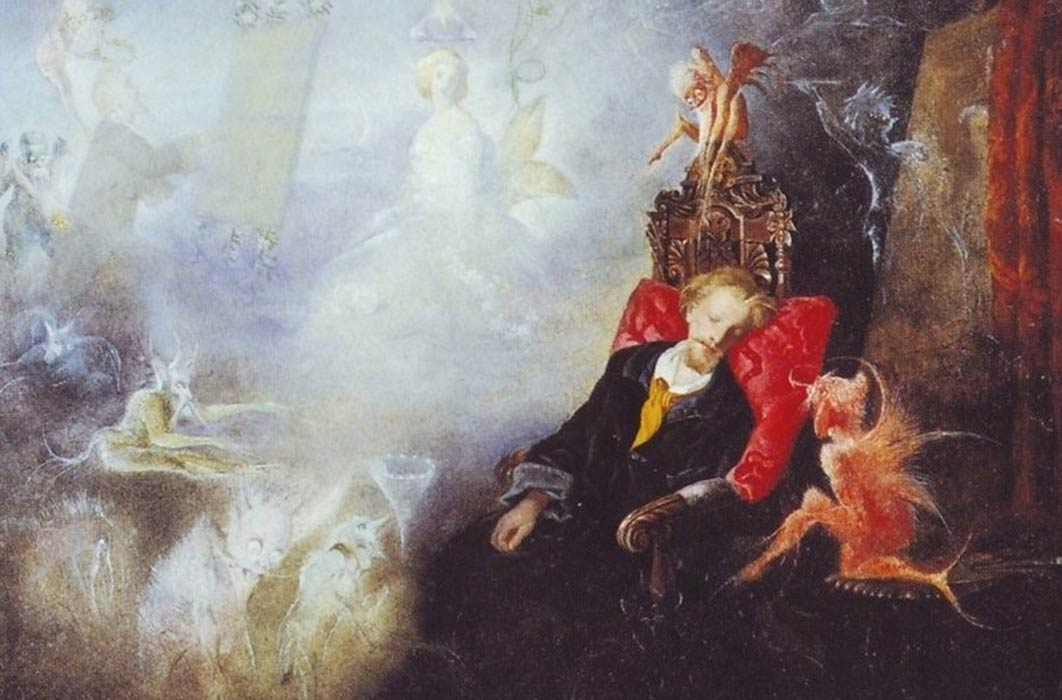 The artists dream by John Anster Fitzgerald  (1860) (Public Domain)