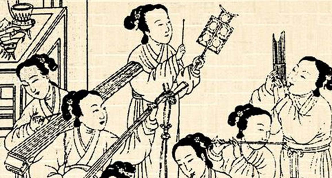 Female musicians performing Chinese classical music. (Public Domain)