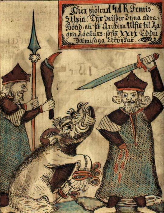 Fenrir bites off the hand of a sword-wielding Týr in an illustration on an 18th-century Icelandic manuscript