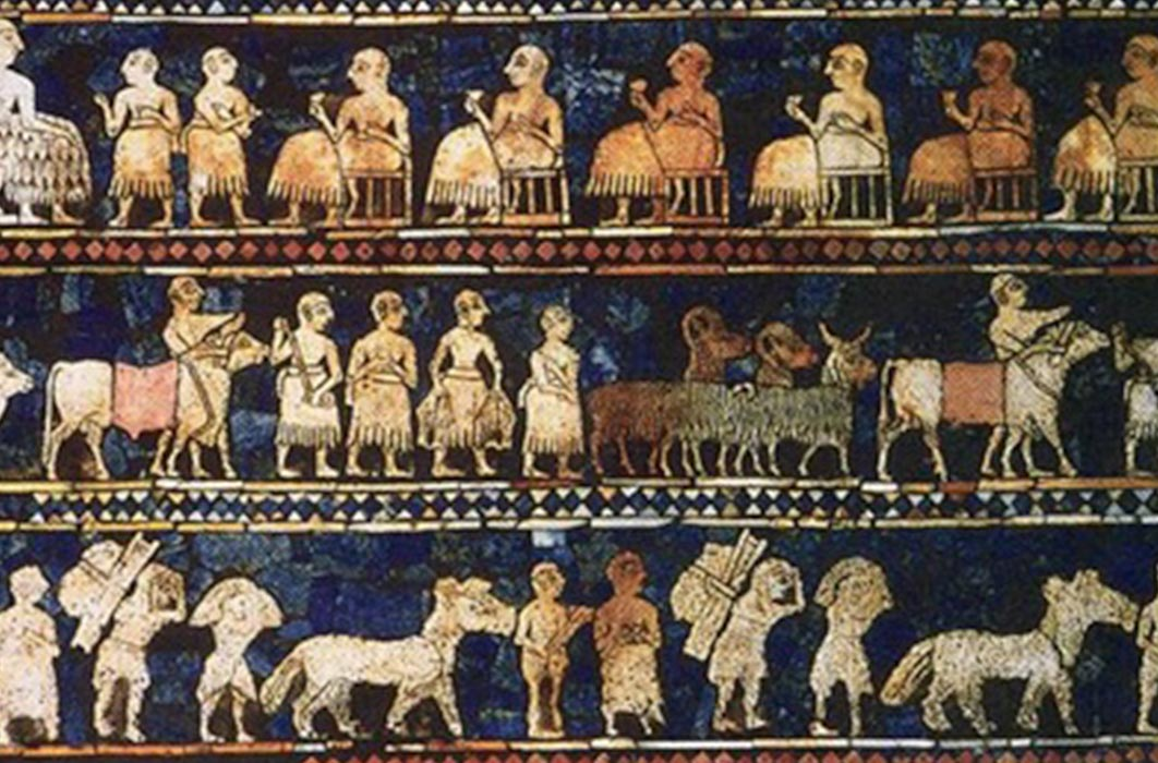 From the royal tombs of Ur, the Standard of Ur mosaic, made of lapis lazuli and shell, shows peacetime. (Public Domain)