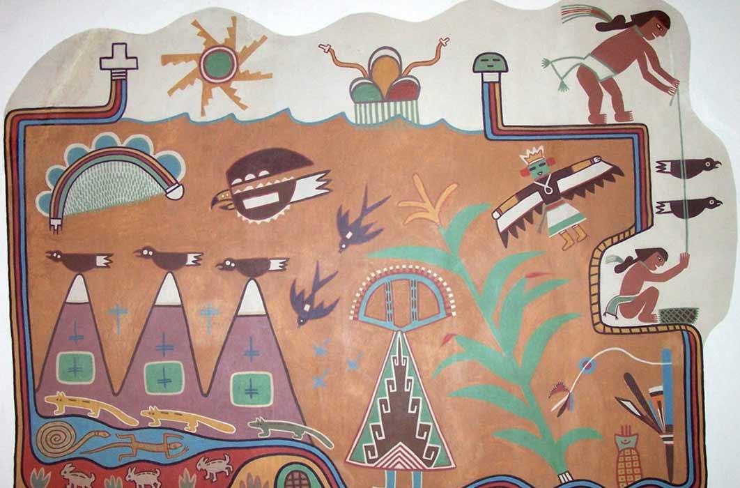 Kabotie Hopi Symbols Mural (Public Domain)
