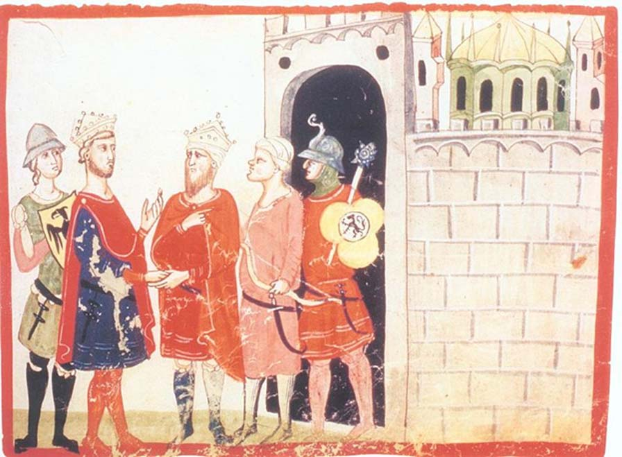 Frederick II (left) meets al-Kamil (right), in a manuscript illumination from Giovanni Villani's Nuova Cronica. (Public Domain)