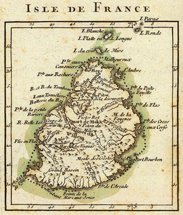 "French map from 1791 depicting Mauritius (then called ""Isle de France""). (Public Domain)"