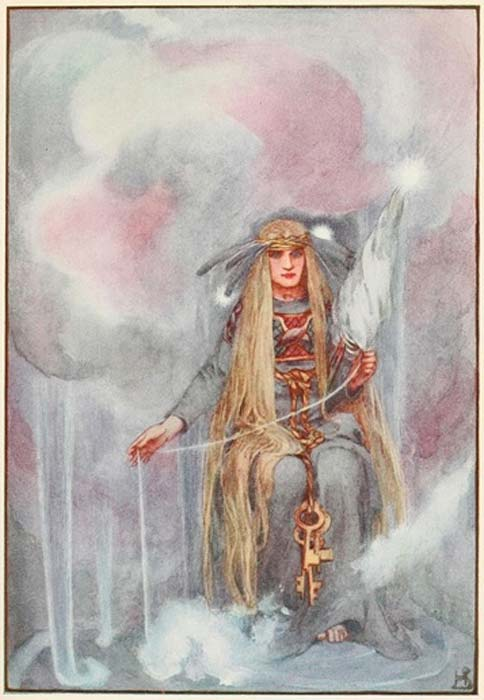 Freyja, Queen of the Northern Gods. Illustration in A Book of Myths by Helen Stratton (1915) (Public Domain)