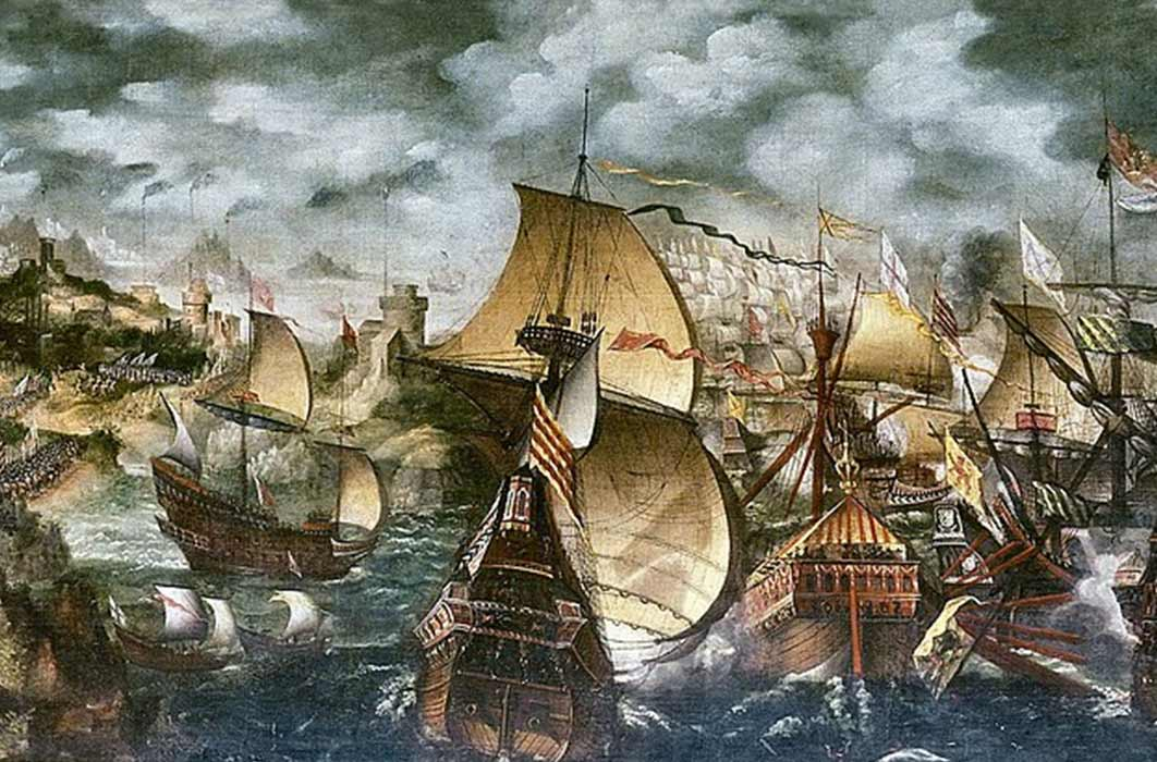 Elizabeth I and the Spanish Armada; the Apothecaries painting, sometimes attributed to Nicholas Hilliard. (Public Domain)