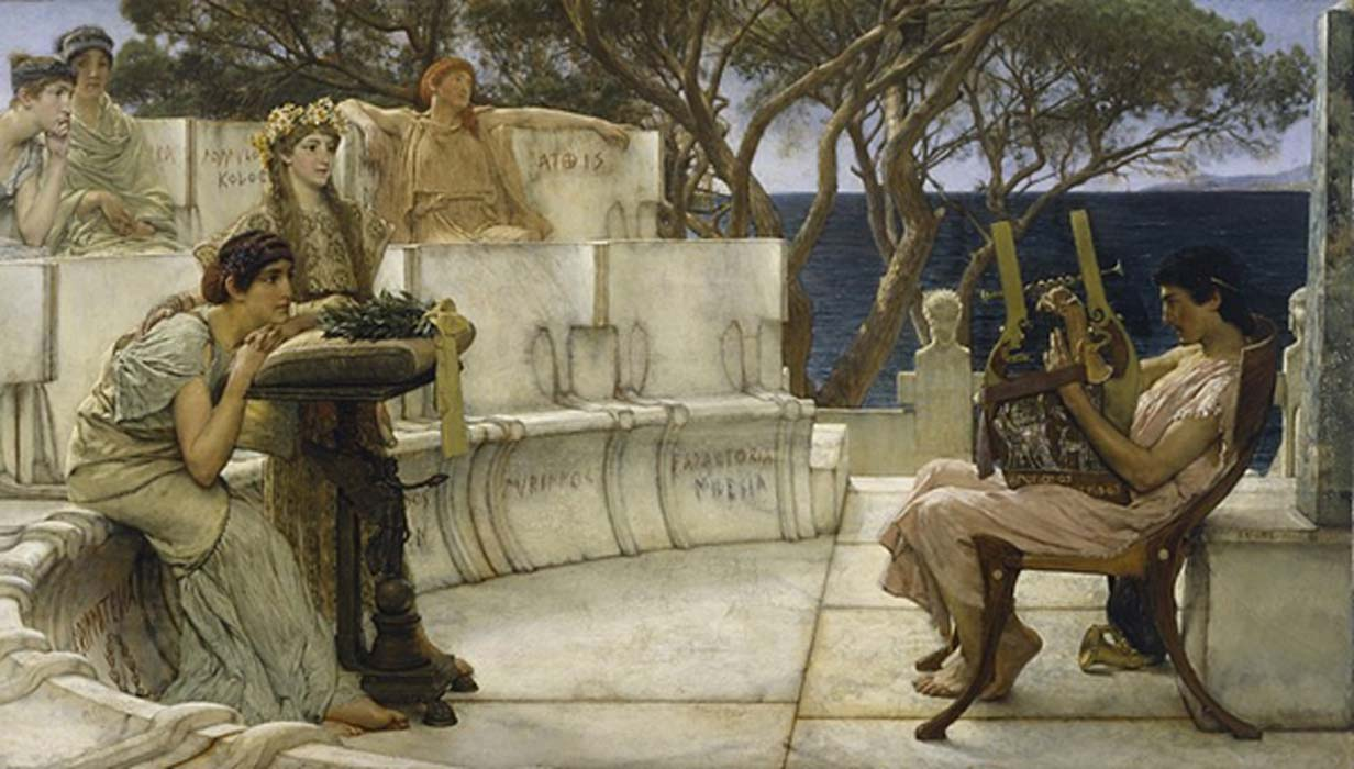 Sappho and Alcaeus by Lawrence Alma-Tadema (1881)