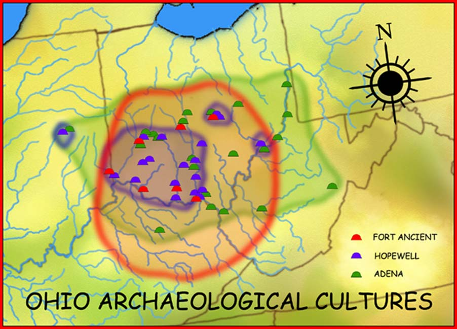 Geographic distribution of the Adena (800 BC–100 AD), Hopewell (200 BC–500 AD), and Fort Ancient (1000–1750 AD) cultures. (Heironymous Rowe/CC BY-SA 3.0)