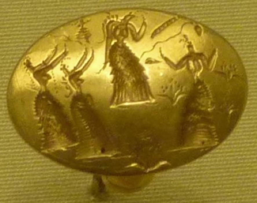 Gold ring from Isopata tomb, near Knossos, Crete, 1400–1500 BC. Depicted are female figures dancing among blossoming vegetation; Heraklion Archaeological Museum (CC BY-SA 3.0)