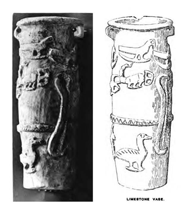 Hierakonpolis cylindrical limestone vase with the eagle/scorpion/ goose motif. (Public Domain)