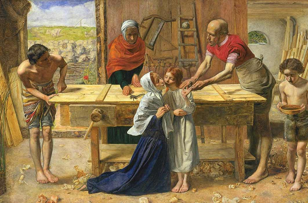 Christ in the House of His Parents (`The Carpenter's Shop') by John Everett Millais  (1850) (Public Domain)