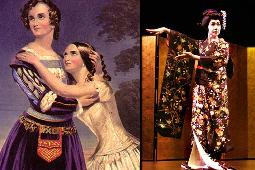 Left, Sisters Charlotte and Susan Cushman in Shakespeare's Romeo and Juliet in 1846 (Public Domain); Right, Male Kabuki actor in Japan (CC BY 2.0)