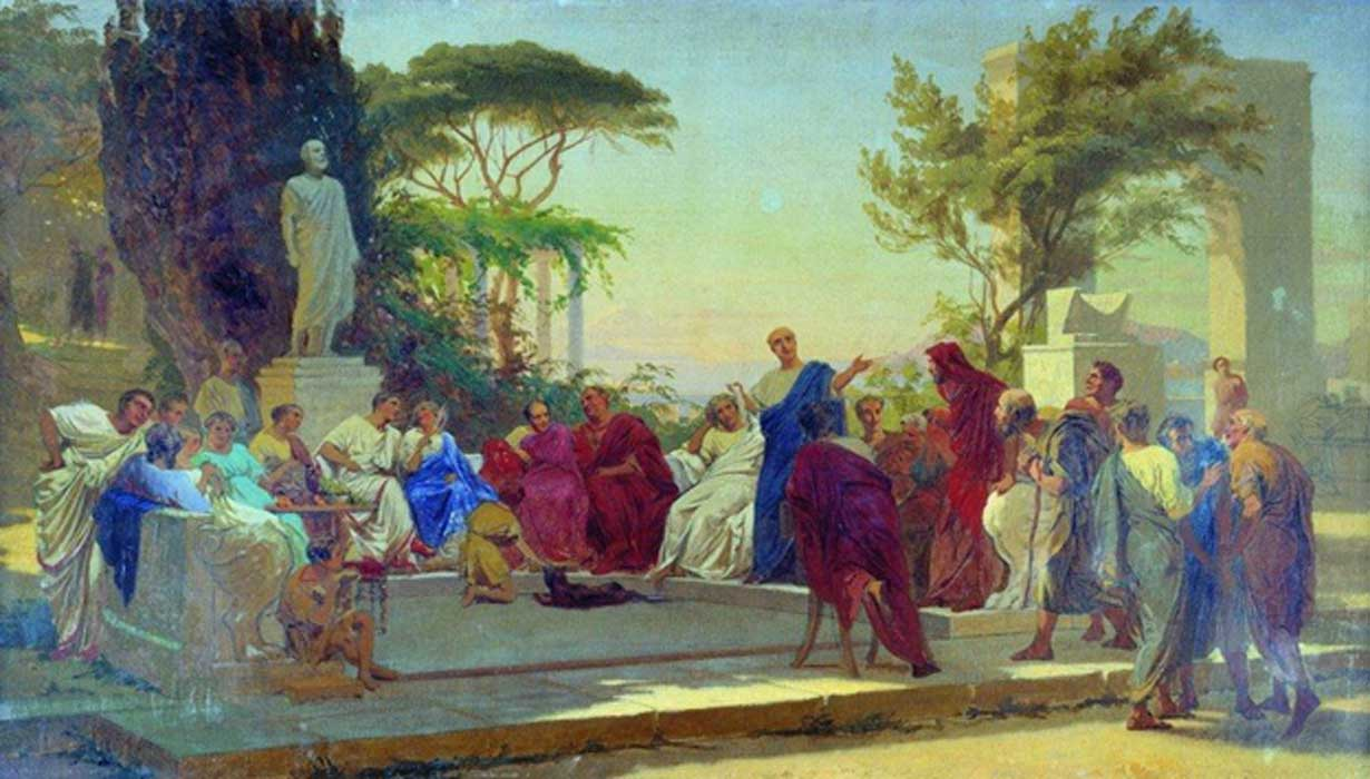 Horace reads before Maecenas, by Fyodor Bronnikov  1863.