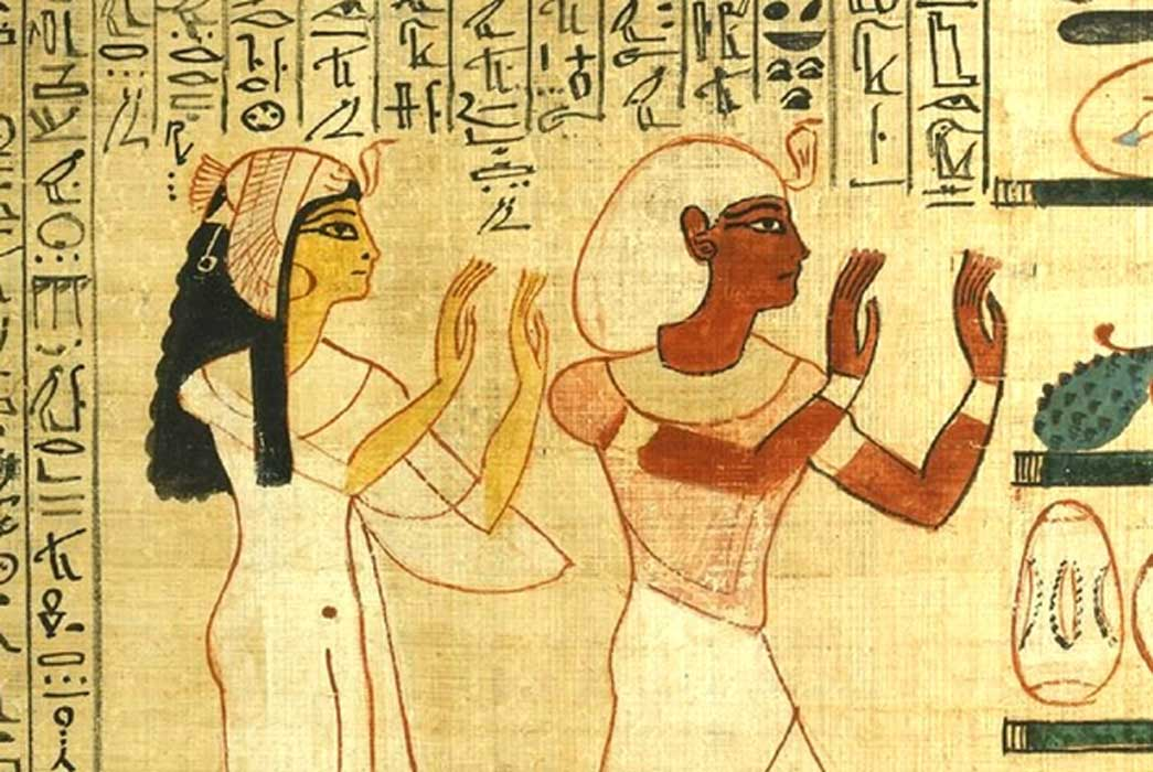 King Herihor and Queen Nodjmet adoring the god Osiris in the afterlife. (Photo credits: Trustees of the British Museum (Wikimedia Commons)); Deriv.
