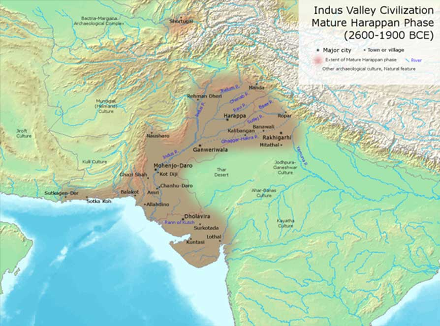 Indus Valley Civilization major sites.