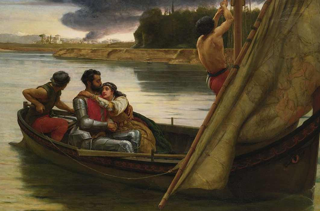Voyage of King Arthur and Morgan le Fay to the Isle of Avalon by Frank William Warwick (1888) (Public Domain)
