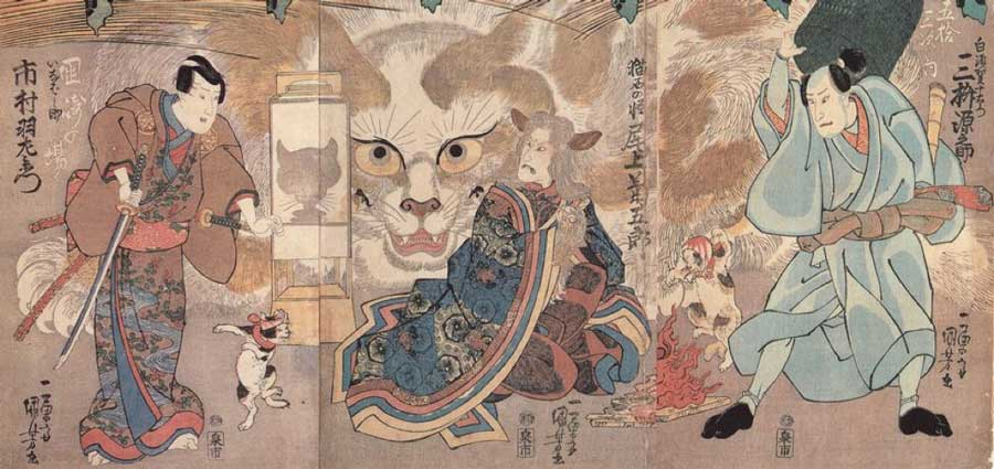 "Japanese superstitions regarding cats.  Ume no Haru Gojūsantsugi"" (梅初春五十三駅) by Utagawa Kuniyoshi. A shapeshifting cat. A kabuki that was performed in 1835 (Public Domain)"