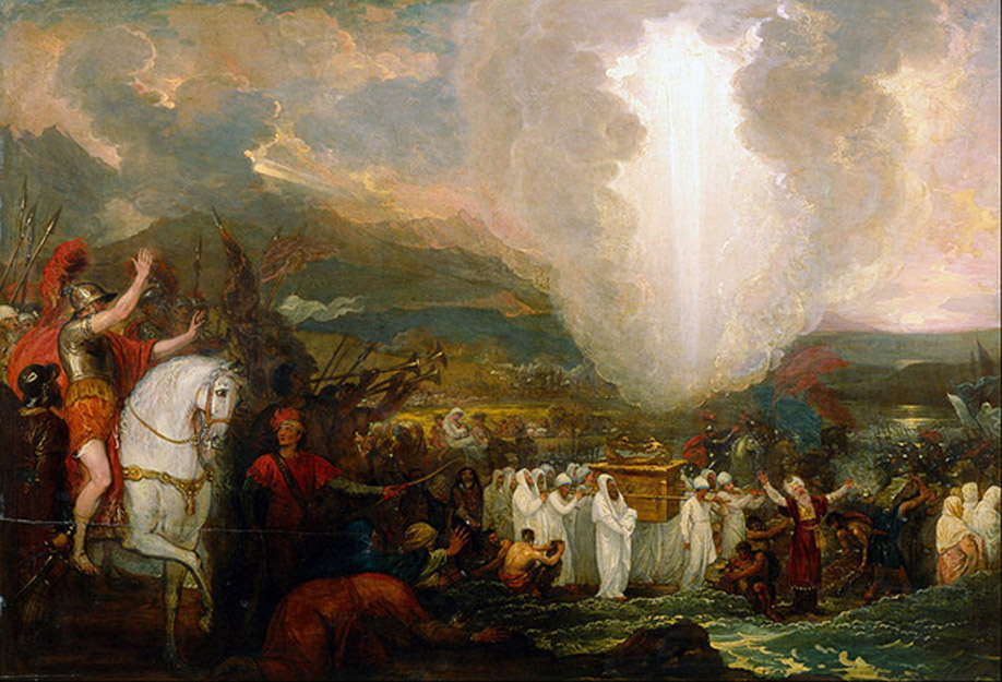 Joshua passing the River Jordan with the Ark of the Covenant.