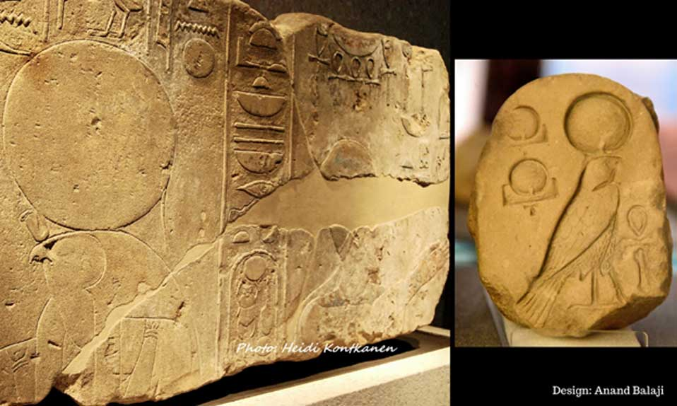 "A Karnak Temple relief from early in Akhenaten's reign shows him with Ra-Horakhty, traditionally depicted with a hawk's head. Neues Museum, Berlin. (Right) An inscribed limestone fragment from Amarna shows an early Aten cartouche, ""the Living Ra-Horakhty"". Petrie Museum, London. (Photo: Osama Shukir Muhammed Amin FRCP(Glasg)/CC BY-SA 4.0)."