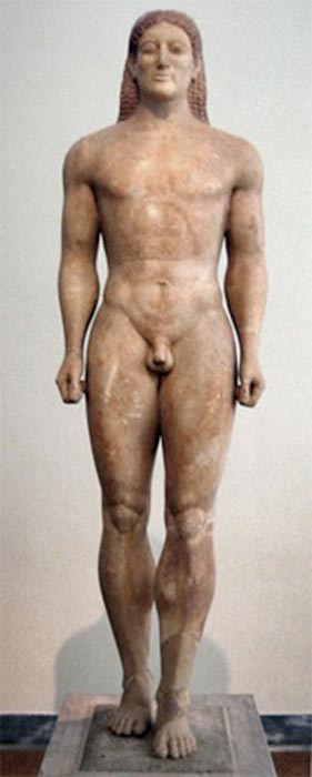 Kouros representing an idealized youth (circa 530 BC) (Public Domain)