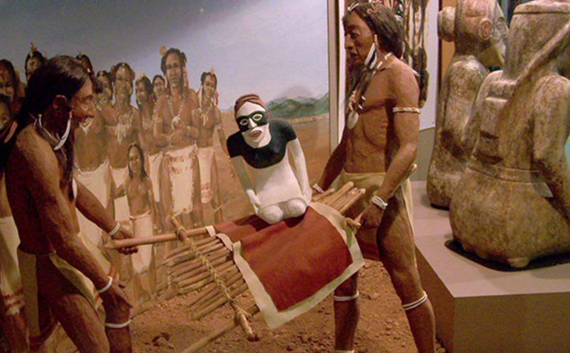 A diorama at the Etowah Mounds showing 2 stone effigies being ritually buried, next to the actual statues, seen from the rear