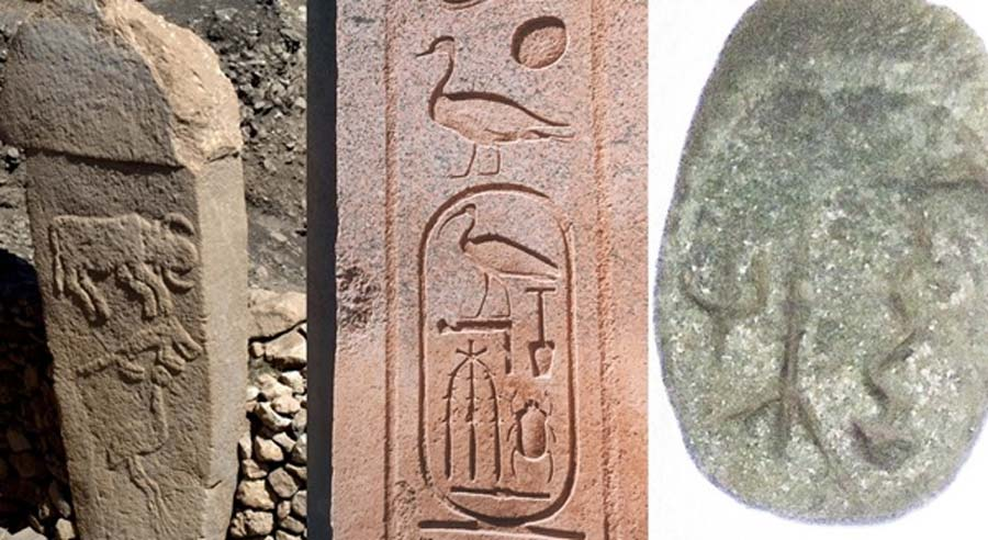 Left to right: Pillar 2 at Göbekli Tepe, an Ancient Egyptian cartouche, and a stone plaquette found at Göbekli Tepe (images courtesy, Klaus-Peter Simon /CC BY-SA 3.0, Cartouche of Thutmose III CC BY-SA 2.0 and Alistair Coombs respectively).