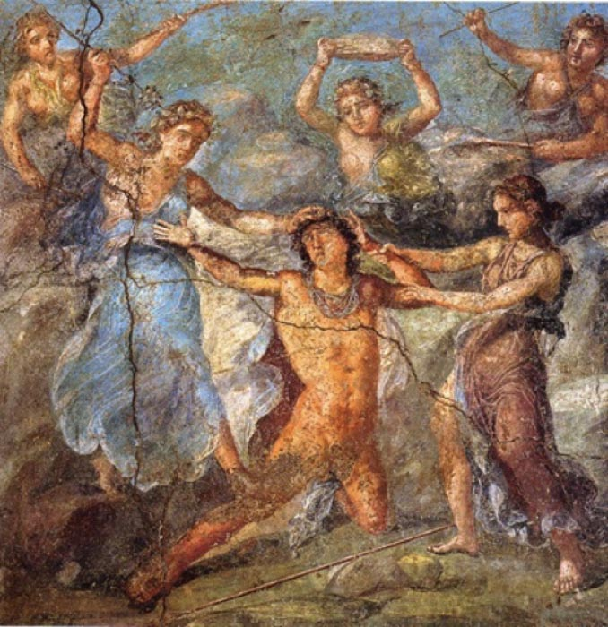 Maenads attacking Pentheus (Public Domain)
