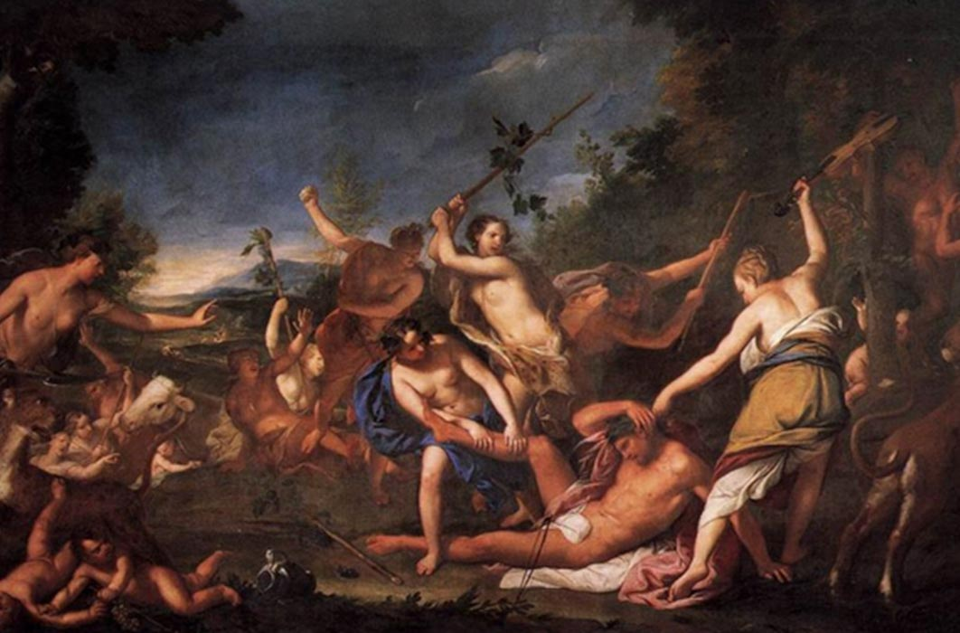 Orpheus and the Bacchantes by Gregorio Lazzarini (1710) (Public Domain)