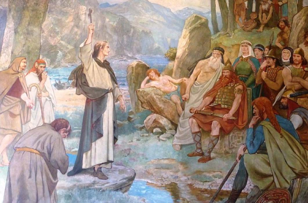 Saint Columba converting King Brude of the Picts to Christianity by William Hole (1899) (Public Domain)