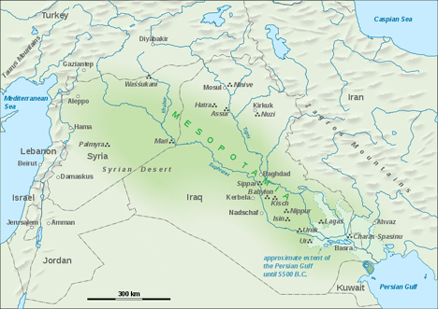 Map of Mesopotamia, showing ancient city-states of Sumer, including Nippur, Mari and Uruk, as well as present-day Lebanon. (CC BY-SA 3.0)