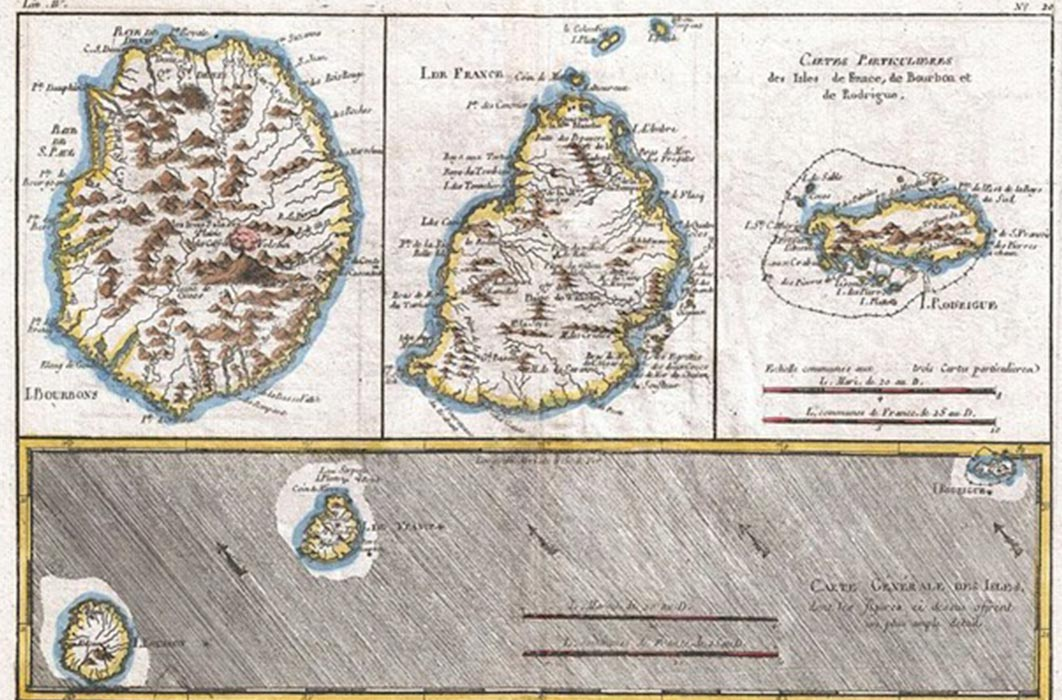 1780 map of the Mascarenes; Reunion, Mauritius, and Rodrigues (Public Domain)