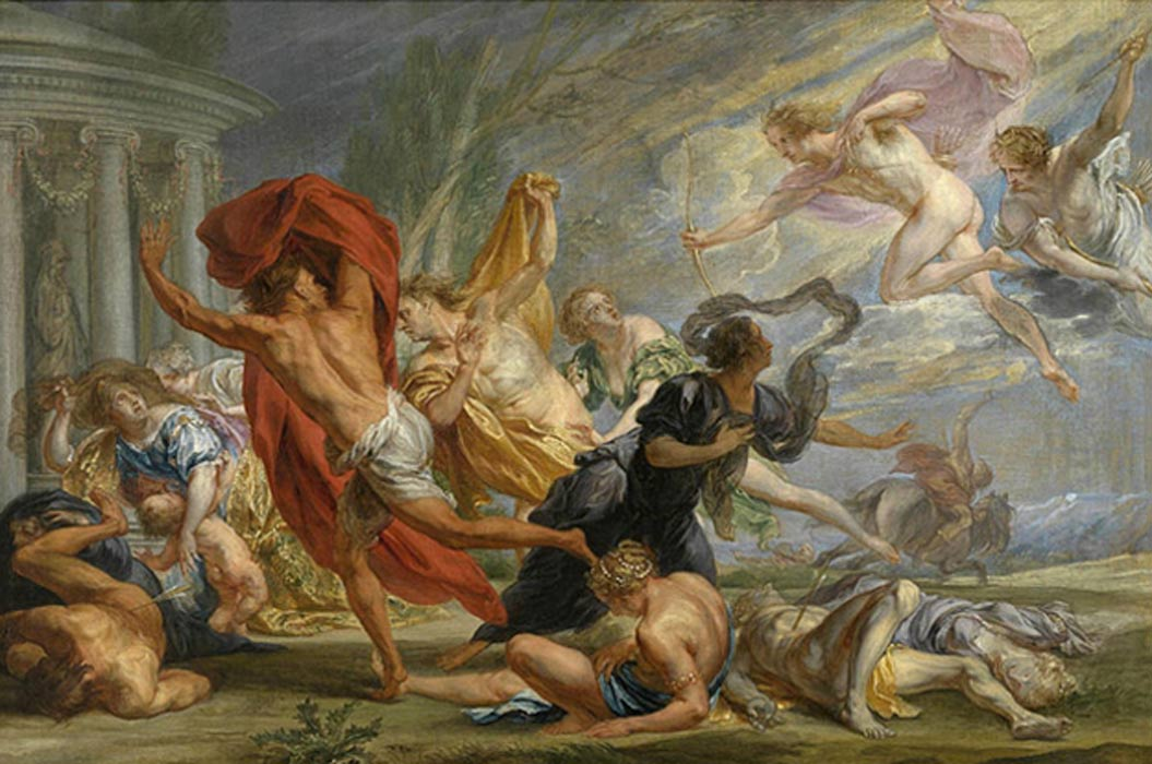 Apollo and Diana killing the children of Niobe by Jan Boeckhorst