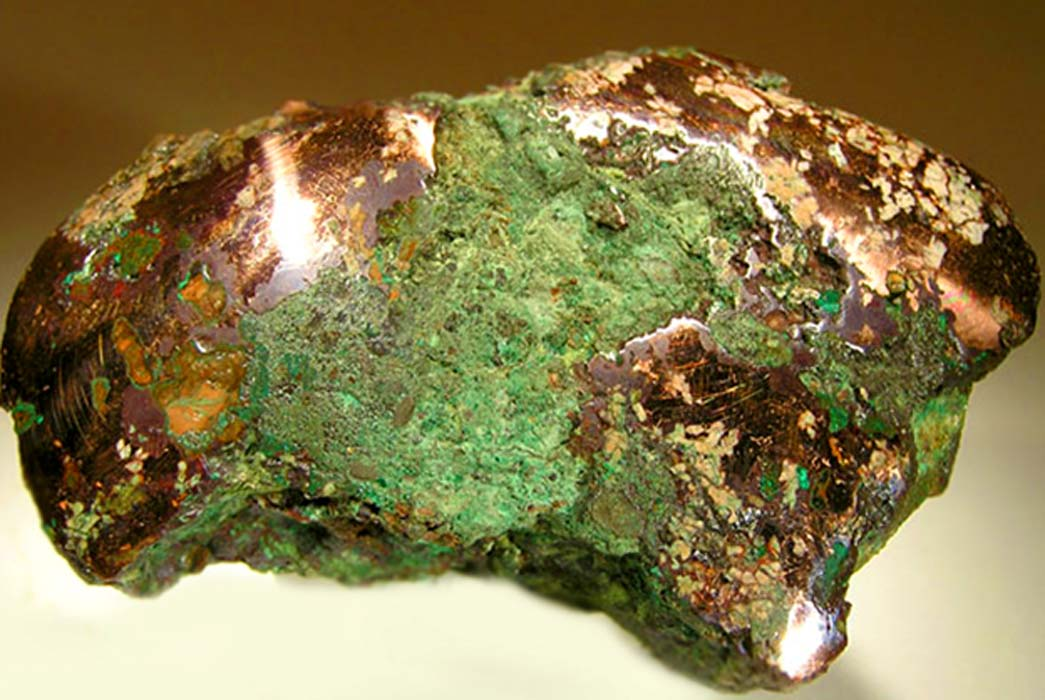 Native copper nugget from glacial drift, Ontonagon County, Michigan. An example of the raw material worked by the people of the Old Copper Complex. (Rob Lavinsky, iRocks.com/CC BY-SA 3.0);deriv.