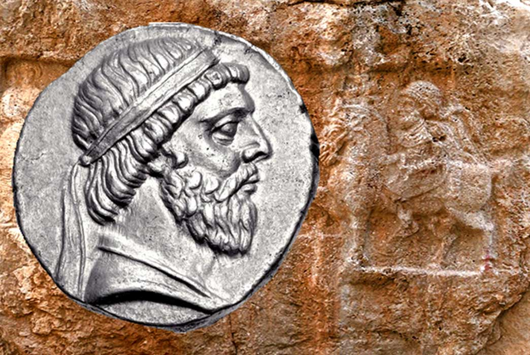 Coin of Mithridates I of Parthia (Classical Numismatic Group, Inc. http://www.cngcoins.com/CC BY-SA 3.0) and Relief of Mithridates I at Xong-e Ashdar in Izeh, Khuzestān (Pentocelo/CC BY-SA 3.0);Deriv.