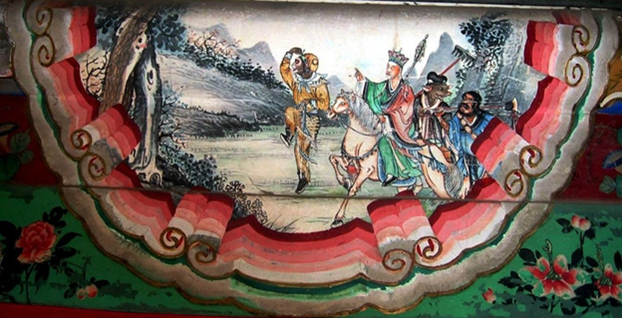 A painting depicting a scene from the Chinese classic, Journey to the West. The painting shows the four heros of the story, left to right: Sun Wukong, Xuanzang, Zhu Wuneng, and Sha Wujing. The painting is a decoration on the Long Corridor in the Summer Palace in Beijing, China.
