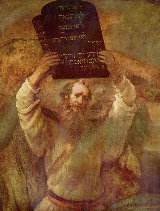 Moses Breaking the Tablets of the Law (1659) by Rembrandt