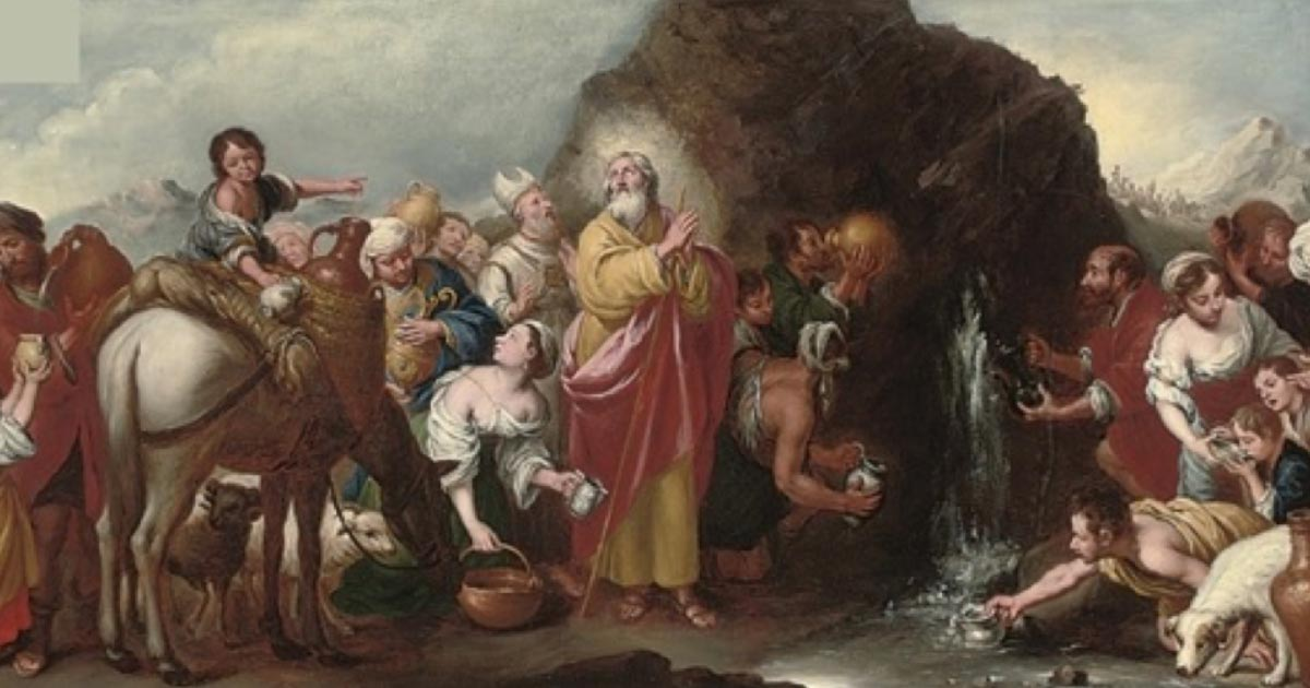Moses striking the rock by Murillo after Bartolomé Esteban Perez (style) – (1666-1670) (Public Domain)