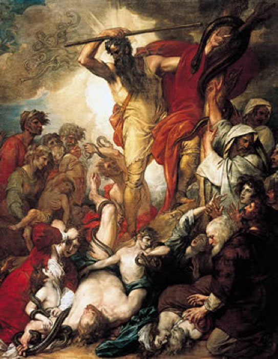 Moses lifts up the brass serpent, curing the Israelites from poisonous snake bites in a painting by Benjamin West (Public Domain)