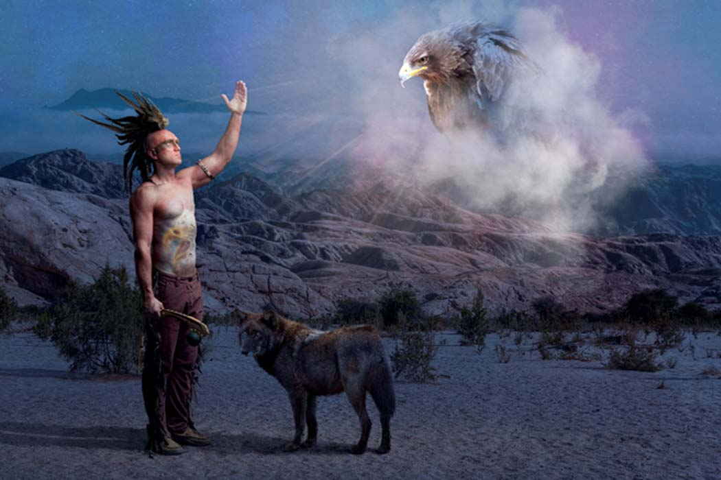 American Indian legend with wolf and eagle
