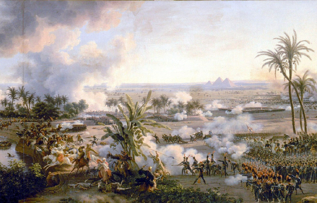 General view of the Battle of the Pyramids, July 21, 1798. Campaign of Egypt (1798-1801). By Louis-François, Baron Lejeune (1775-1848); design by Anand Balaji (Public Domain); Deriv.