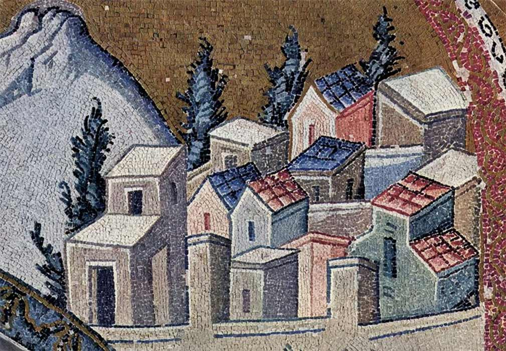 Nazareth as depicted on a Byzantine mosaic in Chora Church, Constantinople. (Public Domain)