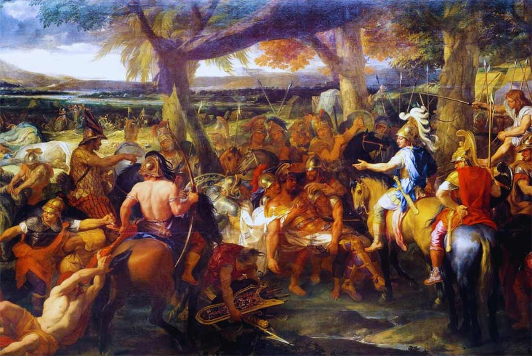 A painting by Charles Le Brun, French painter and art theorist, depicting Alexander and Porus during the Battle of the Hydaspes (1673) design by Anand N. Balaji (Public Domain); Deriv.