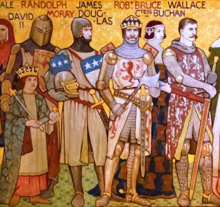 Notable figures in the first Scottish War of Independence: Frieze in the entrance hall of the Scottish National Portrait Gallery, Edinburgh (CC BY-SA 3.0)