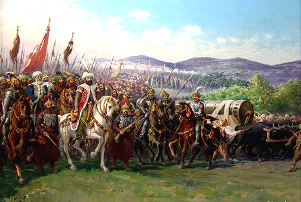 Modern painting of Mehmed and the Ottoman Army approaching Constantinople with a giant bombard, by Fausto Zonaro