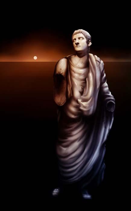 Painting of a broken statue of Roman Emperor Caligula (Aaron Rutten/ Abode Stock)