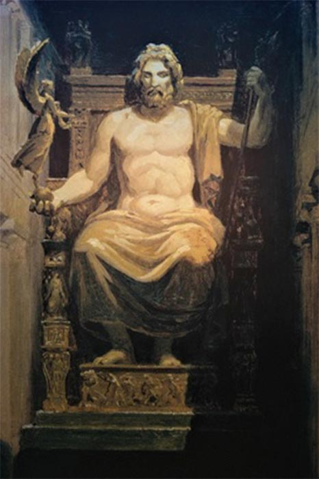 Painting of Zeus at Olympia (Public Domain)