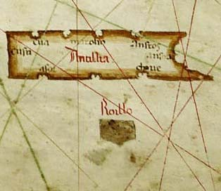 Part of an old sea chart made by Albino de Canepa, showing the mythological islands Antillia and Roillo. (Public Domain)