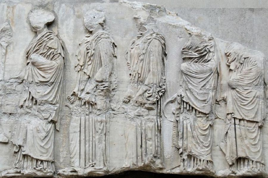 Part of the Parthenon frieze showing the procession that took place in the Panateneas. British Museum(CC BY-SA 2.5)
