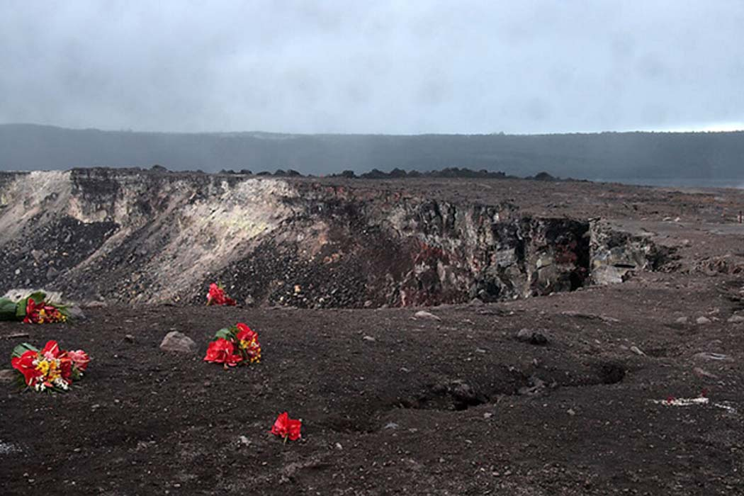 Red flowers apparently left as an offering for the volcano goddess Pele at the edge of the Halema'uma'u Crater in the Kilauea caldera at Volcanoes National Park on the Island of Hawaii.