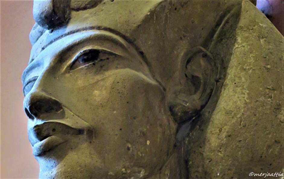 Pharaoh Akhenaten blazed his own trail like none before him; but a proper understanding of the person behind the king eludes us. This colossal sandstone sculpture that shows him wearing the Khat headdress and double crown was discovered at Karnak Temple. Egyptian Museum, Cairo.