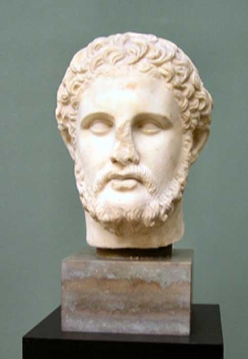 Philip II of King of Macedon, a Hellenistic-era sculpted bust, Ny Carlsberg Glyptotek (Public Domain)